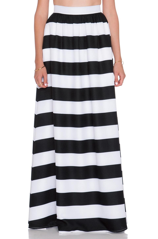 BLAQUE LABEL Striped Maxi Skirt in Black & White   REVOLVE