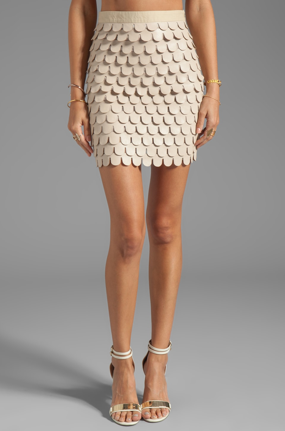 BLAQUE LABEL Faux Leather Skirt in Tan
