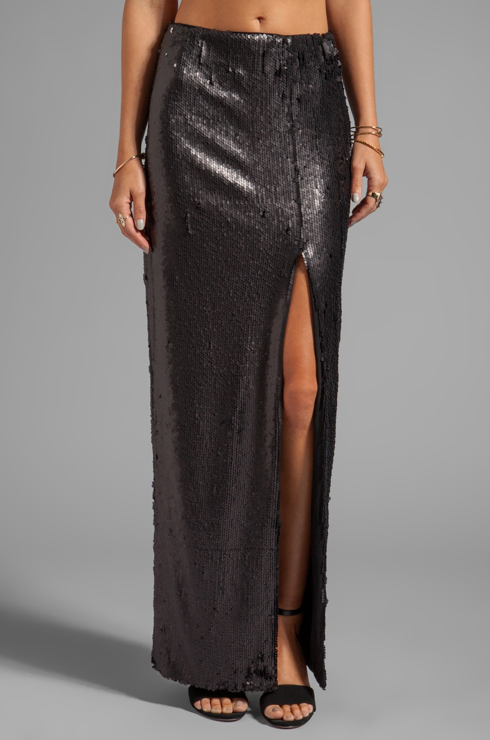 BLAQUE LABEL Sequins High Slit Maxi Skirt in Matte Black