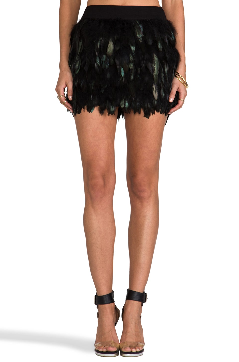 BLAQUE LABEL Feather Party Skirt in Green
