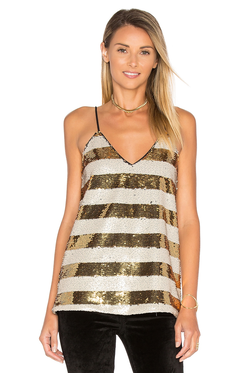 BLAQUE LABEL Striped Sequin Cami in Gold & Creme