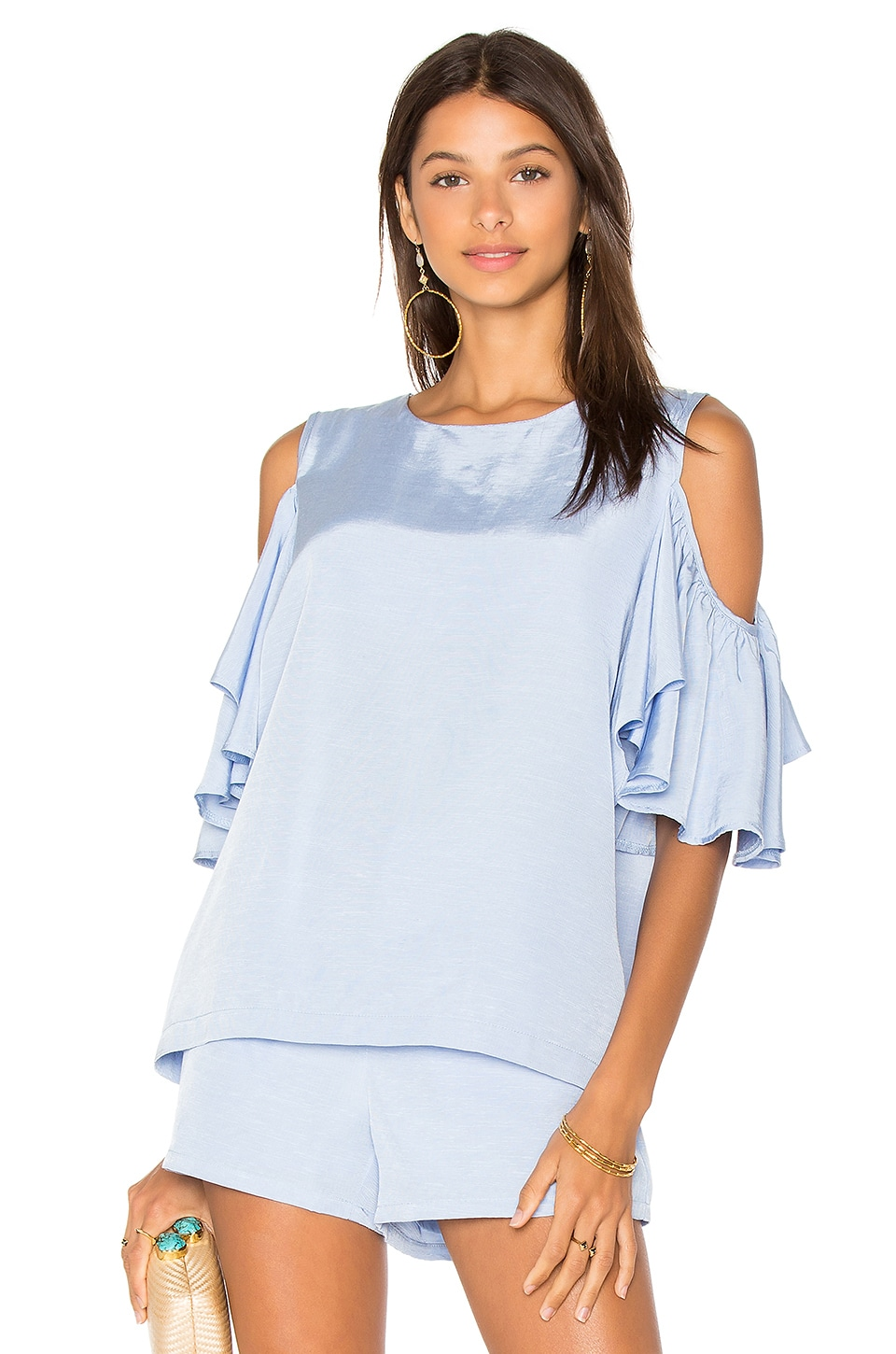 BLAQUE LABEL Cold Shoulder Top in Sky