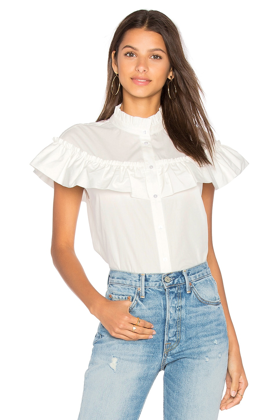 Ruffle Poplin Button Up by Blaque Label