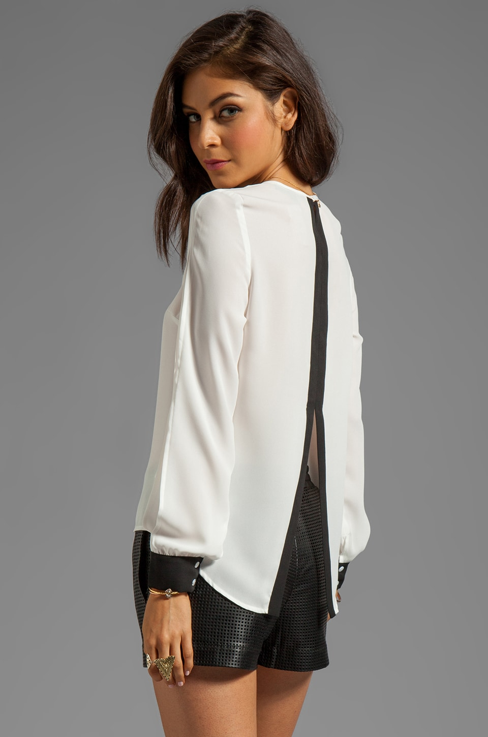 BLAQUE LABEL Slit Back Top in White/Black