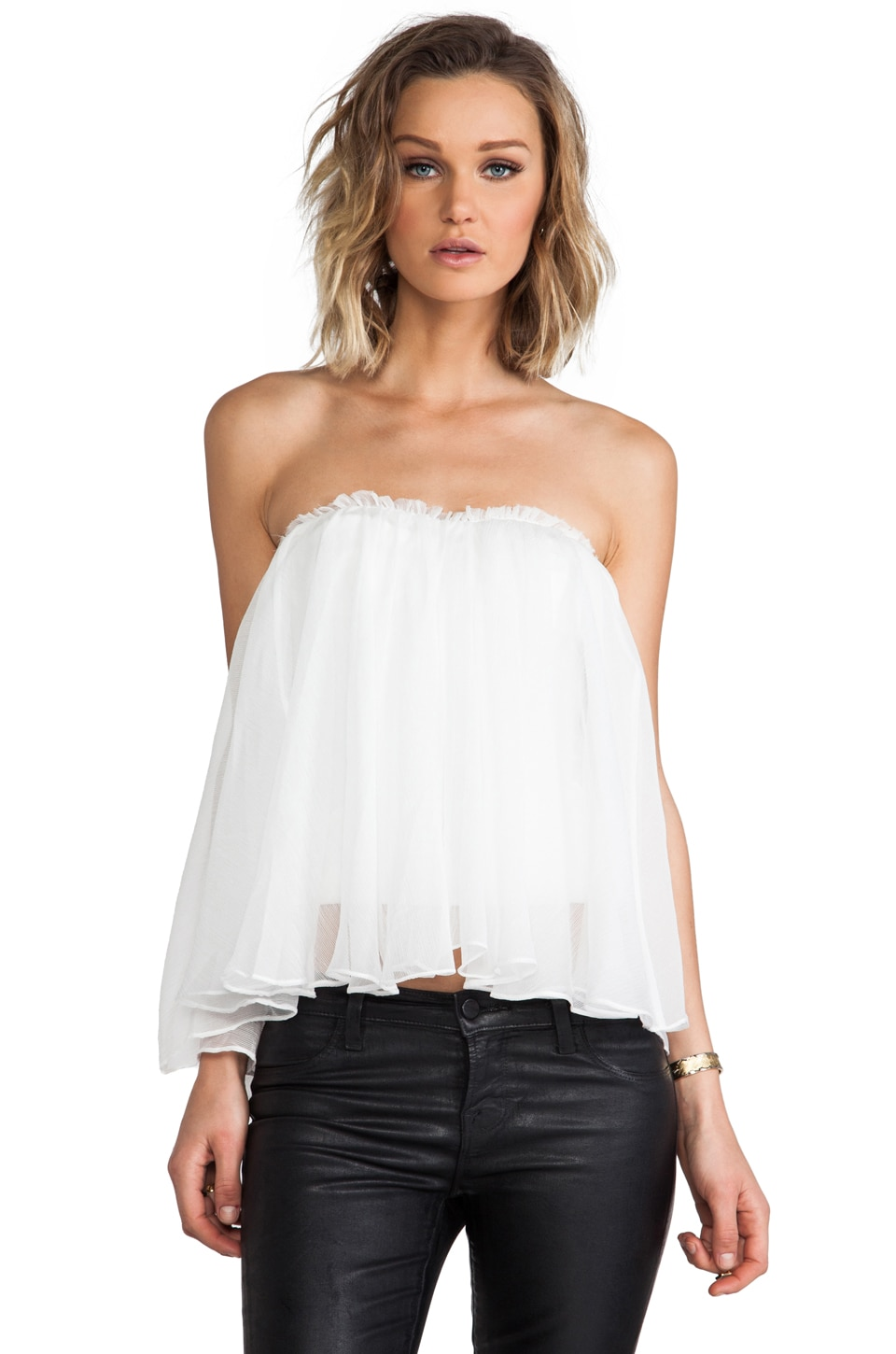 BLAQUE LABEL Strapless Ruffle Top in White