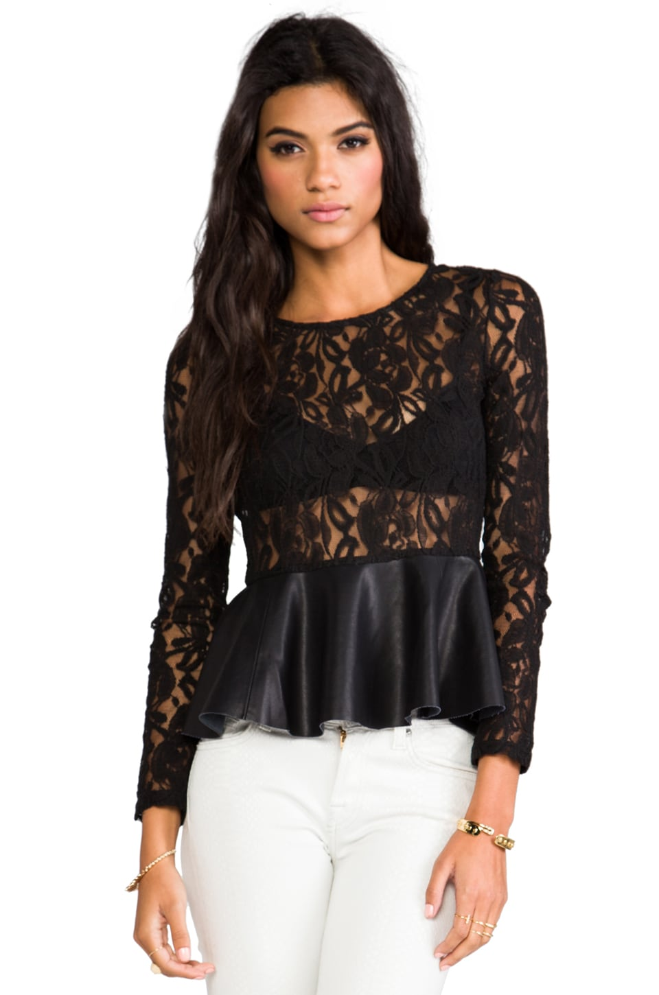 BLAQUE LABEL Leatherette Peplum Top in Black