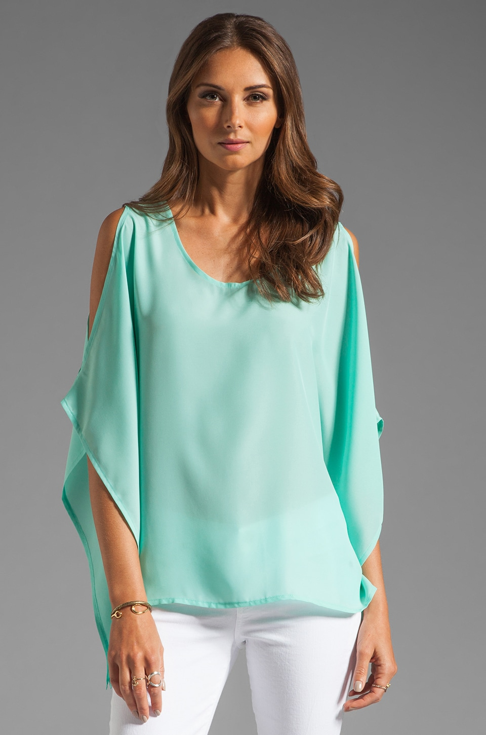 BLAQUE LABEL Open Shoulder Top in Aqua