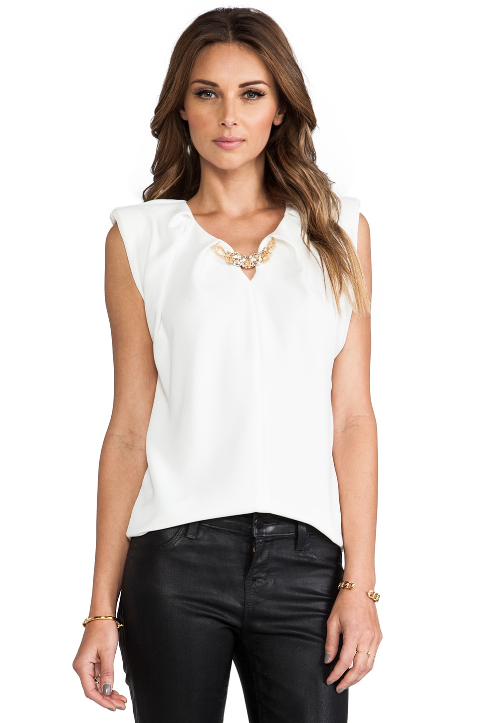 BLAQUE LABEL Short Sleeve Top in White