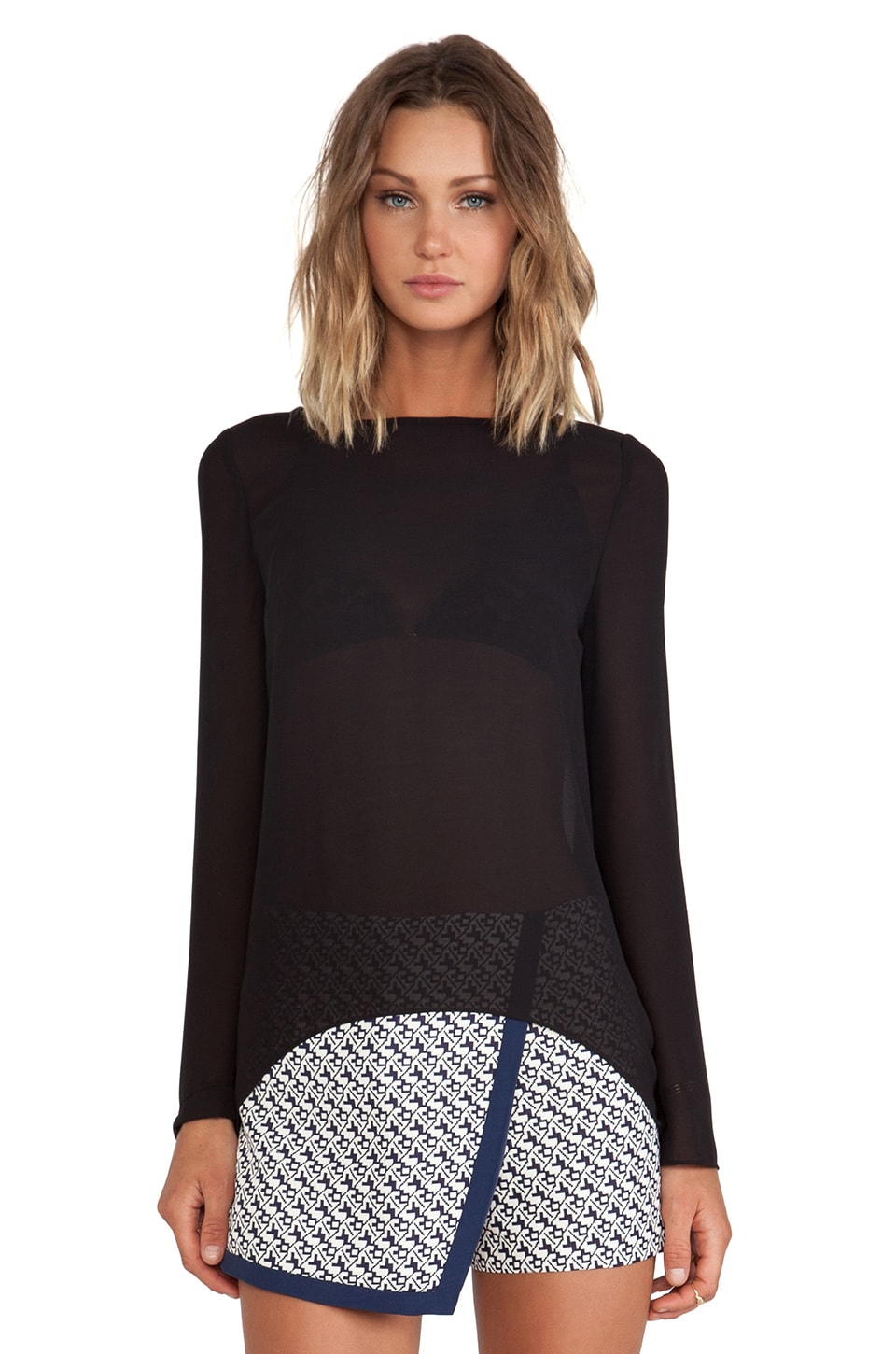BLAQUE LABEL Sheer Long Sleeve Top in Black