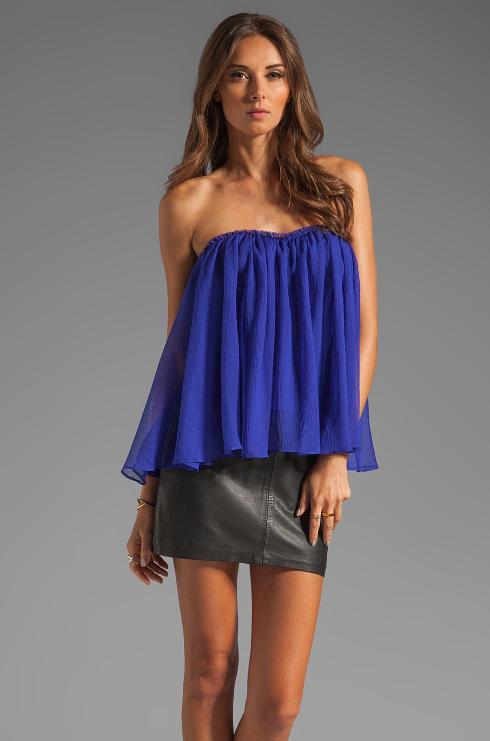 BLAQUE LABEL Strapless Ruffle Top in Blue