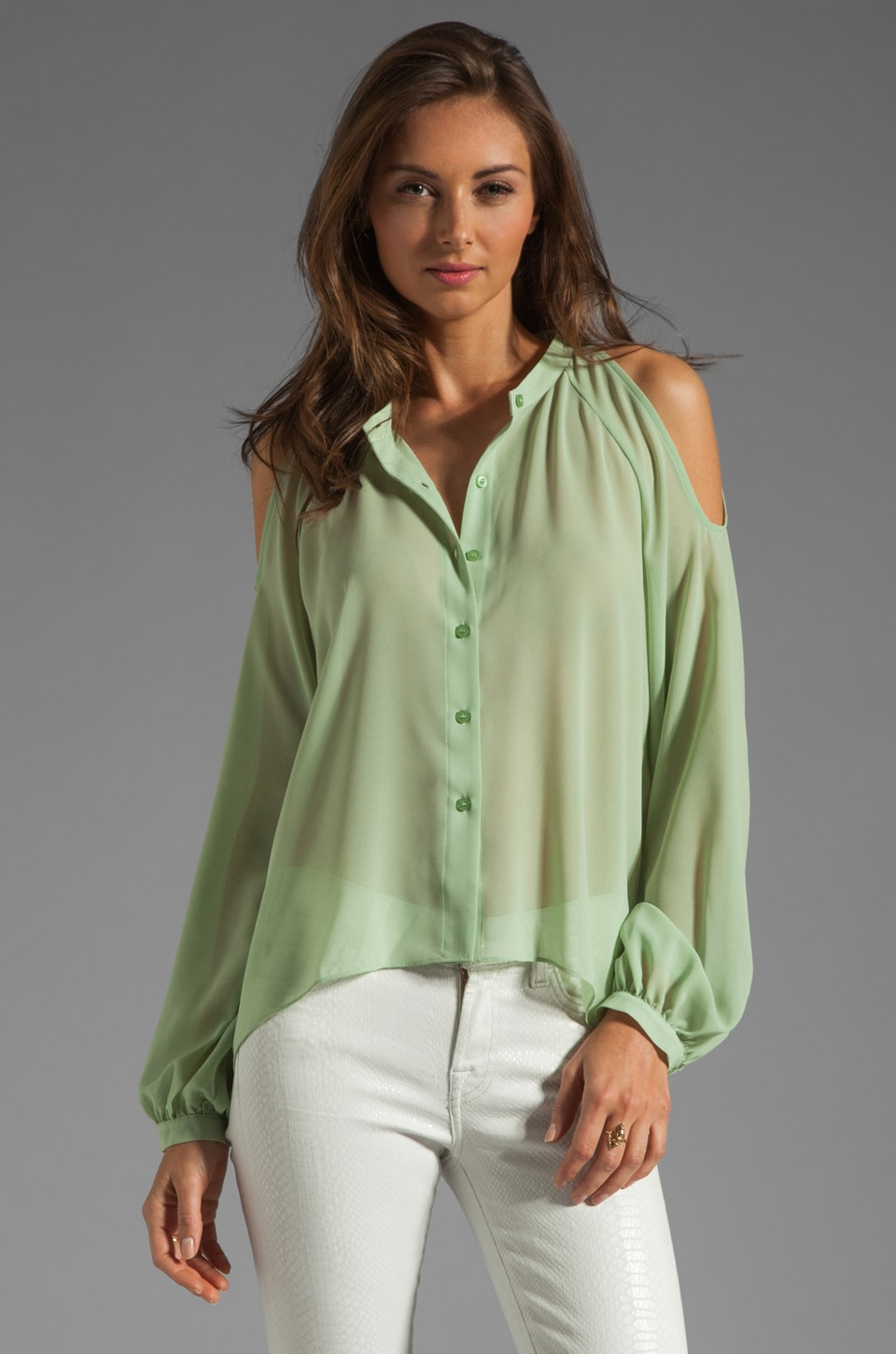 BLAQUE LABEL Open Shoulder Blouse in Mint