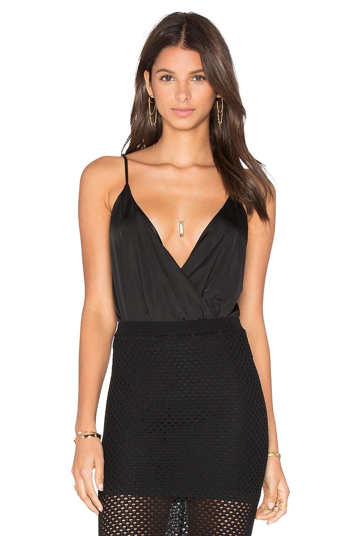 BLAQUE LABEL Deep V Neck Sleeveless Bodysuit in Black