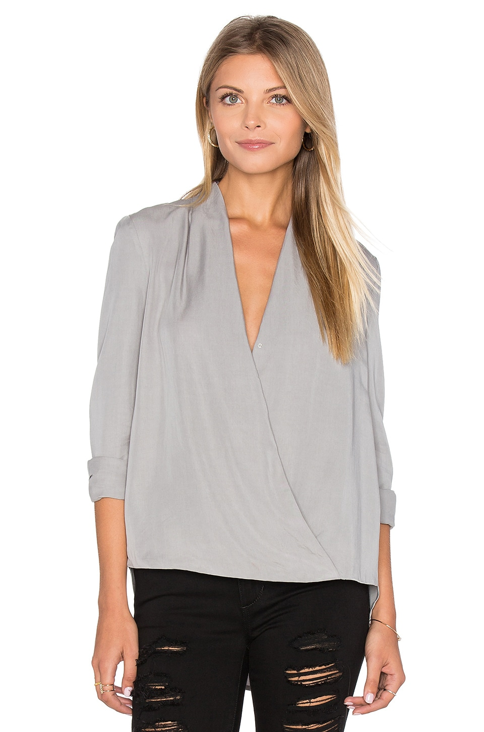BLAQUE LABEL Faux Wrap Blouse in Greige