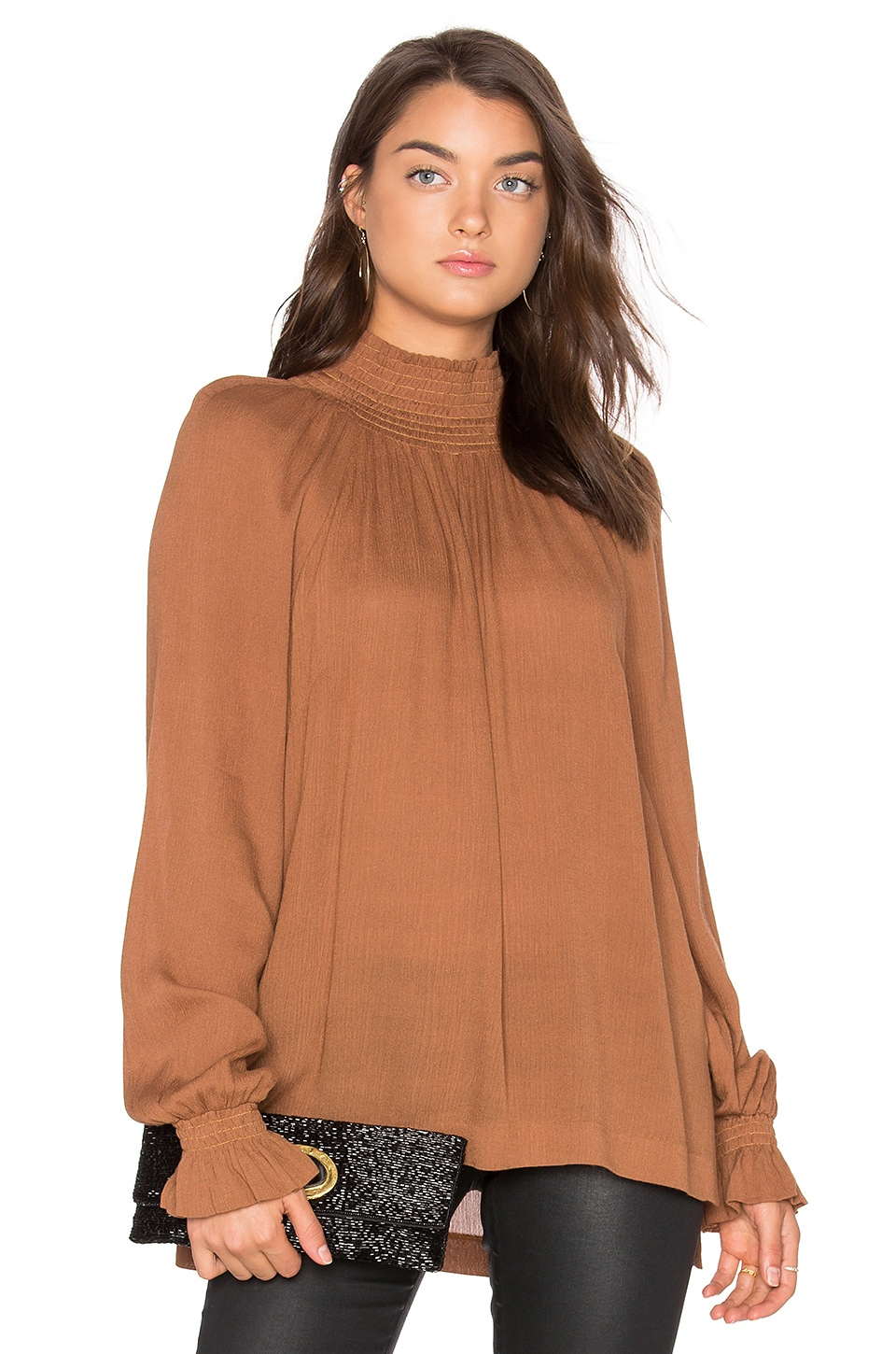 BLAQUE LABEL Ruched Funnel Neck Top in Dark Caramel