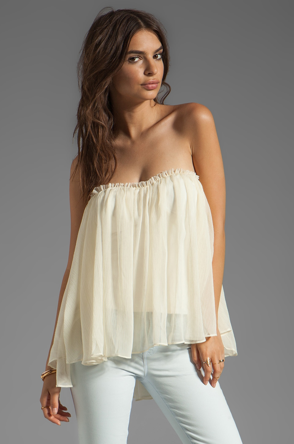 BLAQUE LABEL Strapless Ruffle Top in Ivory