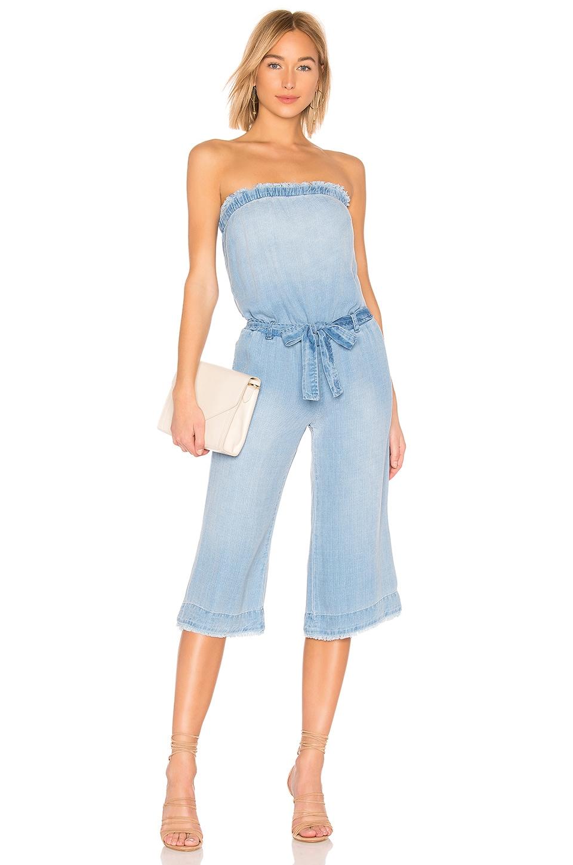 Bella Dahl Strapless Frayed Crop Jumpsuit in Clearwater Wash