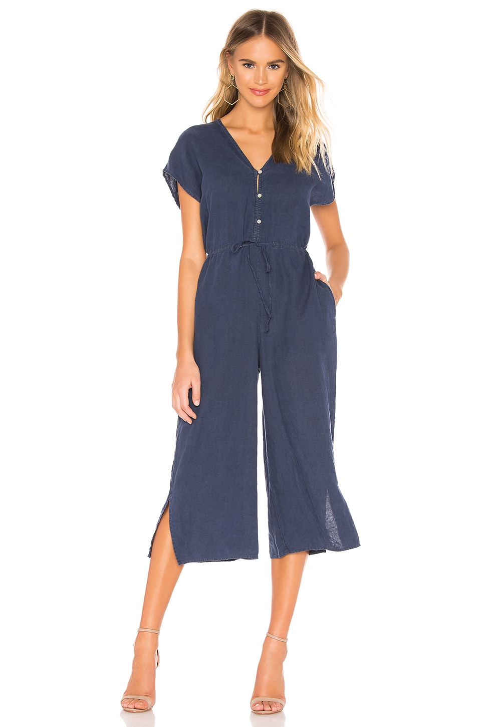 Bella Dahl Capsleeve V Neck Jumpsuit in Navy Night