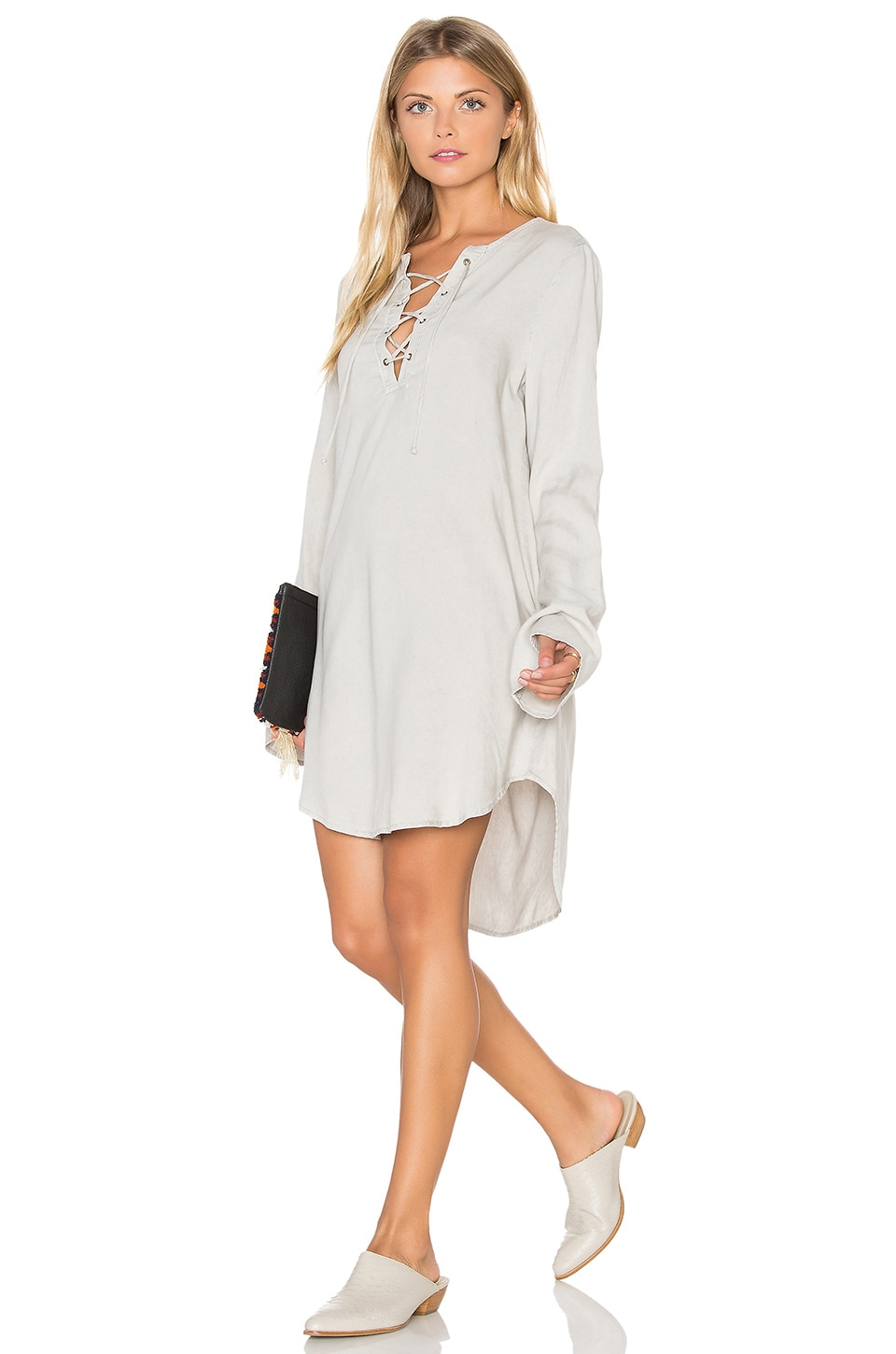 Bell Sleeve Lace Up Dress