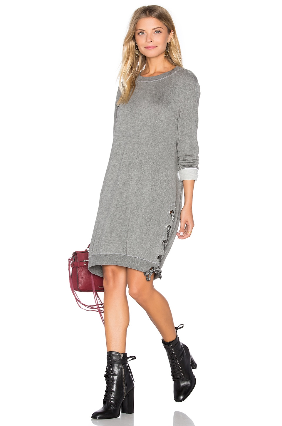 Lace Up Sweatshirt Dress by Bella Dahl