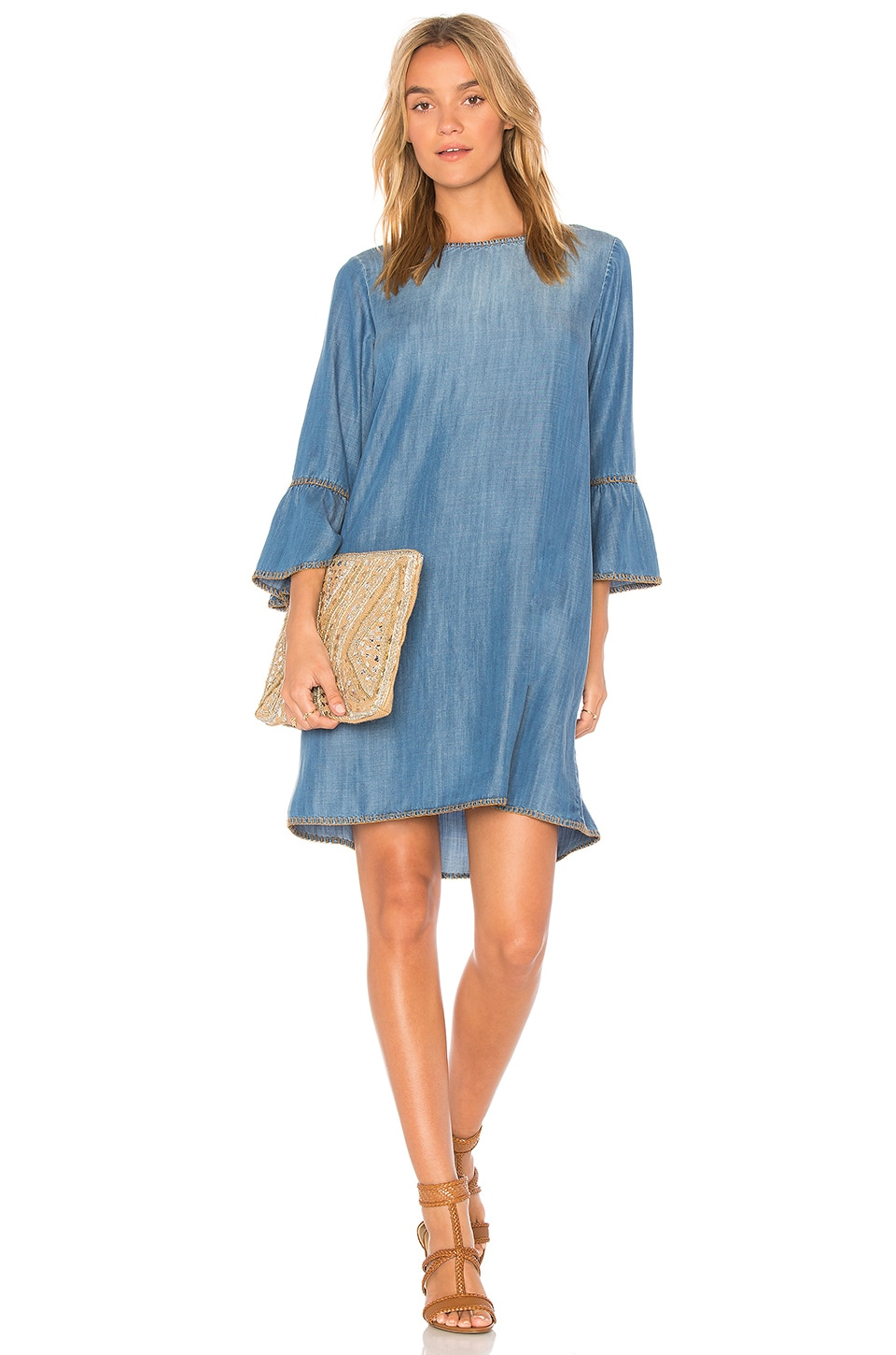 Blanket Stitched Bell Sleeve Dress by Bella Dahl