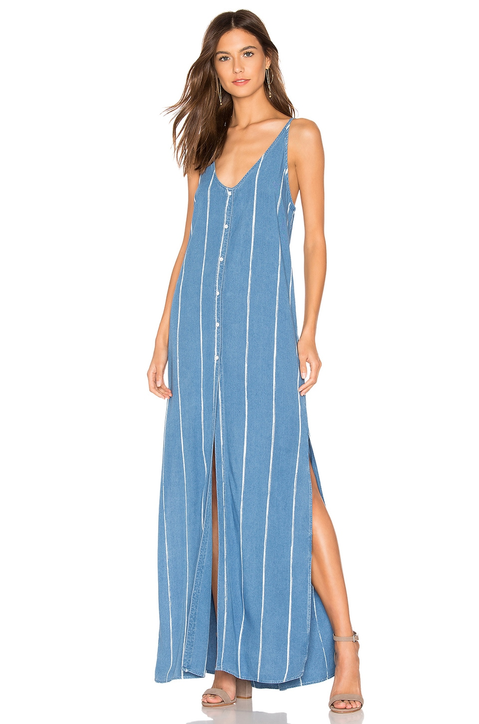 Bella Dahl Pleat Back Maxi Dress in Escondido Falls Wash