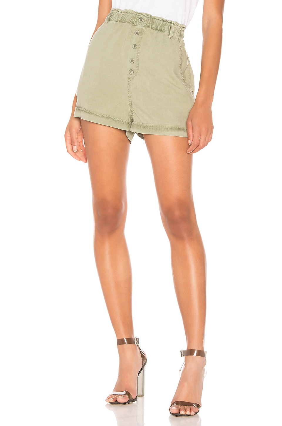 Bella Dahl Button Front High Waisted Short in Dusk Green