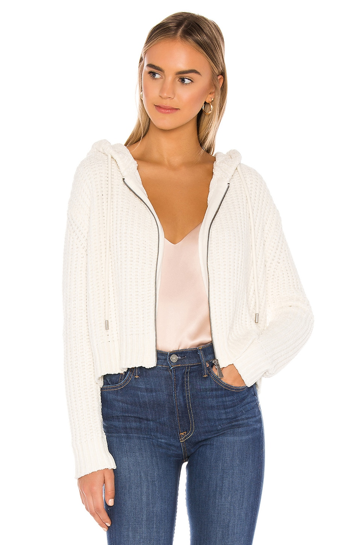 Bella Dahl Zip Front Hoodie in Winter White