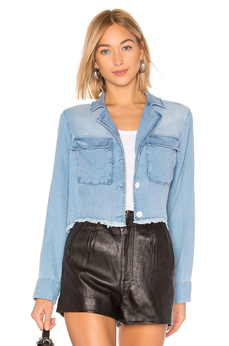 Bella Dahl Cropped Military Jacket in Clearwater Wash
