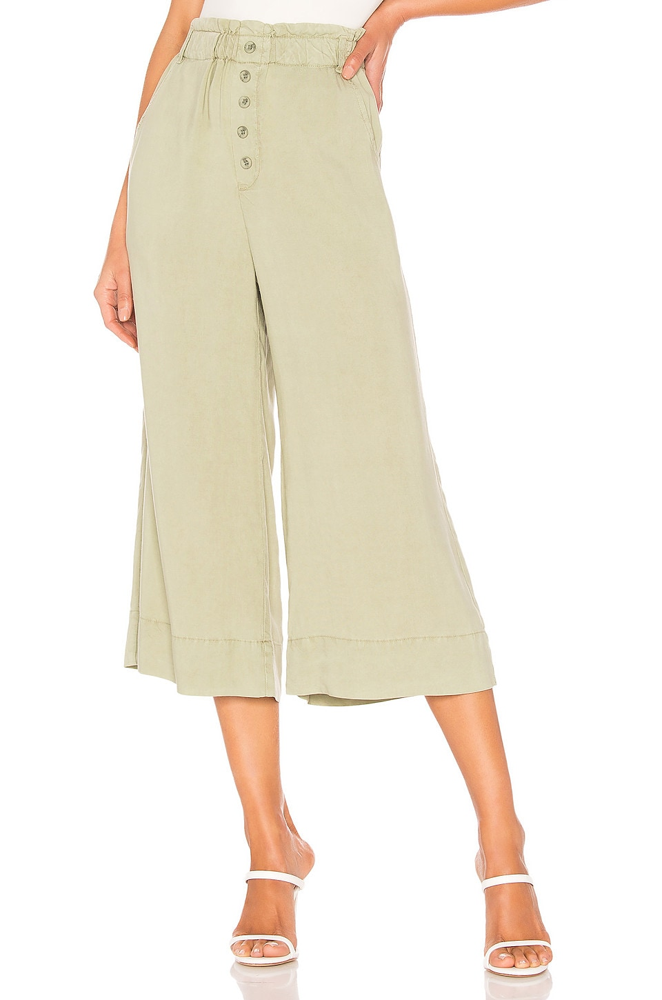 Bella Dahl Button Front Crop Pant in Spring Vine