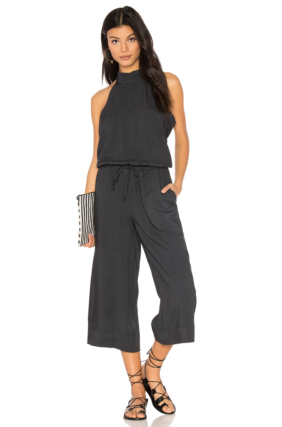 Bella Dahl Mock Neck Jumpsuit in Smoke Pearl
