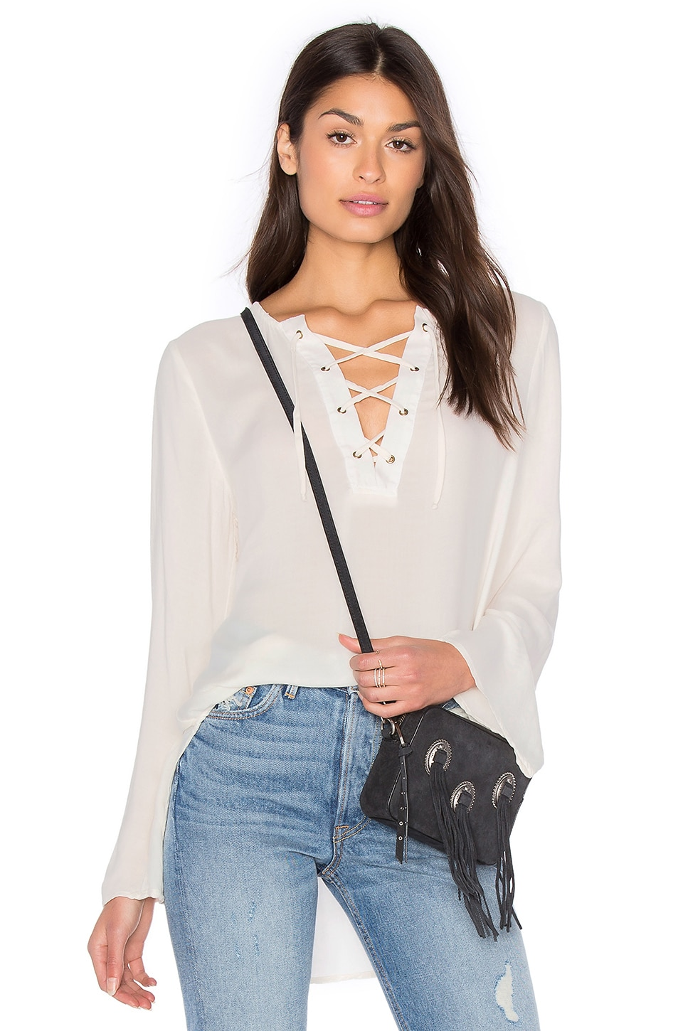 Bell Sleeve Lace Up Top by Bella Dahl