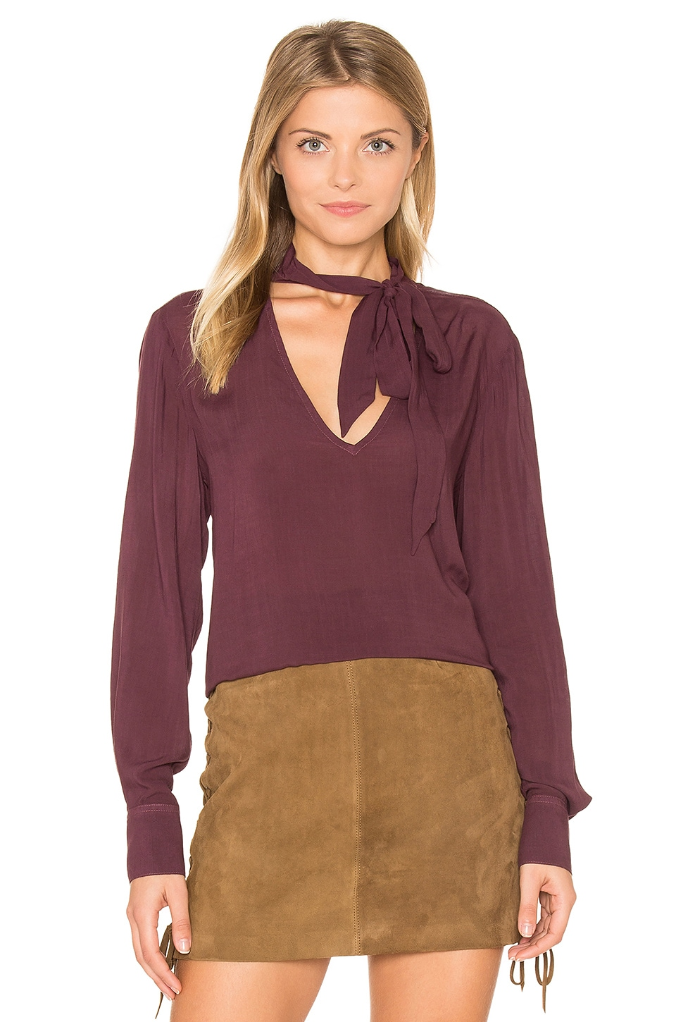 Bella Dahl Neck Tie Top in Spiced Berry