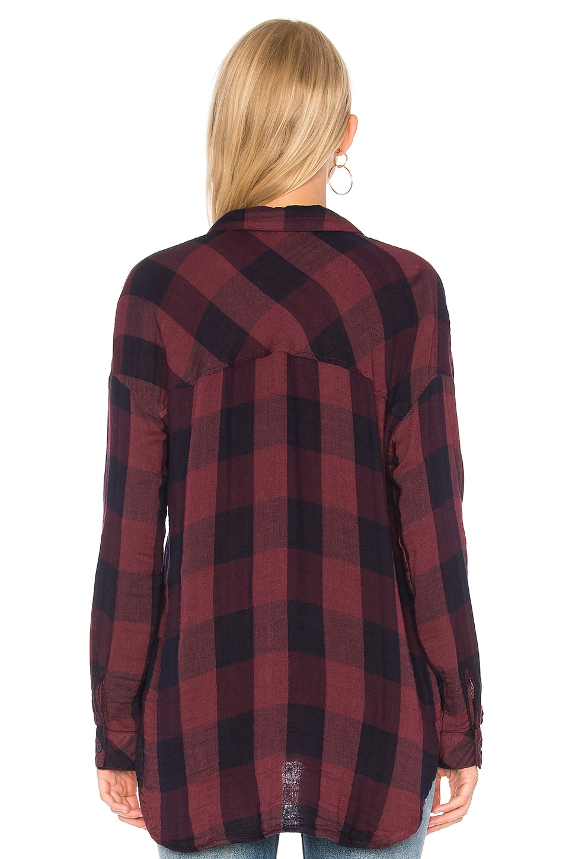 Bella dahl drop shoulder plaid top in red in vintage wine for Bella dahl plaid shirt