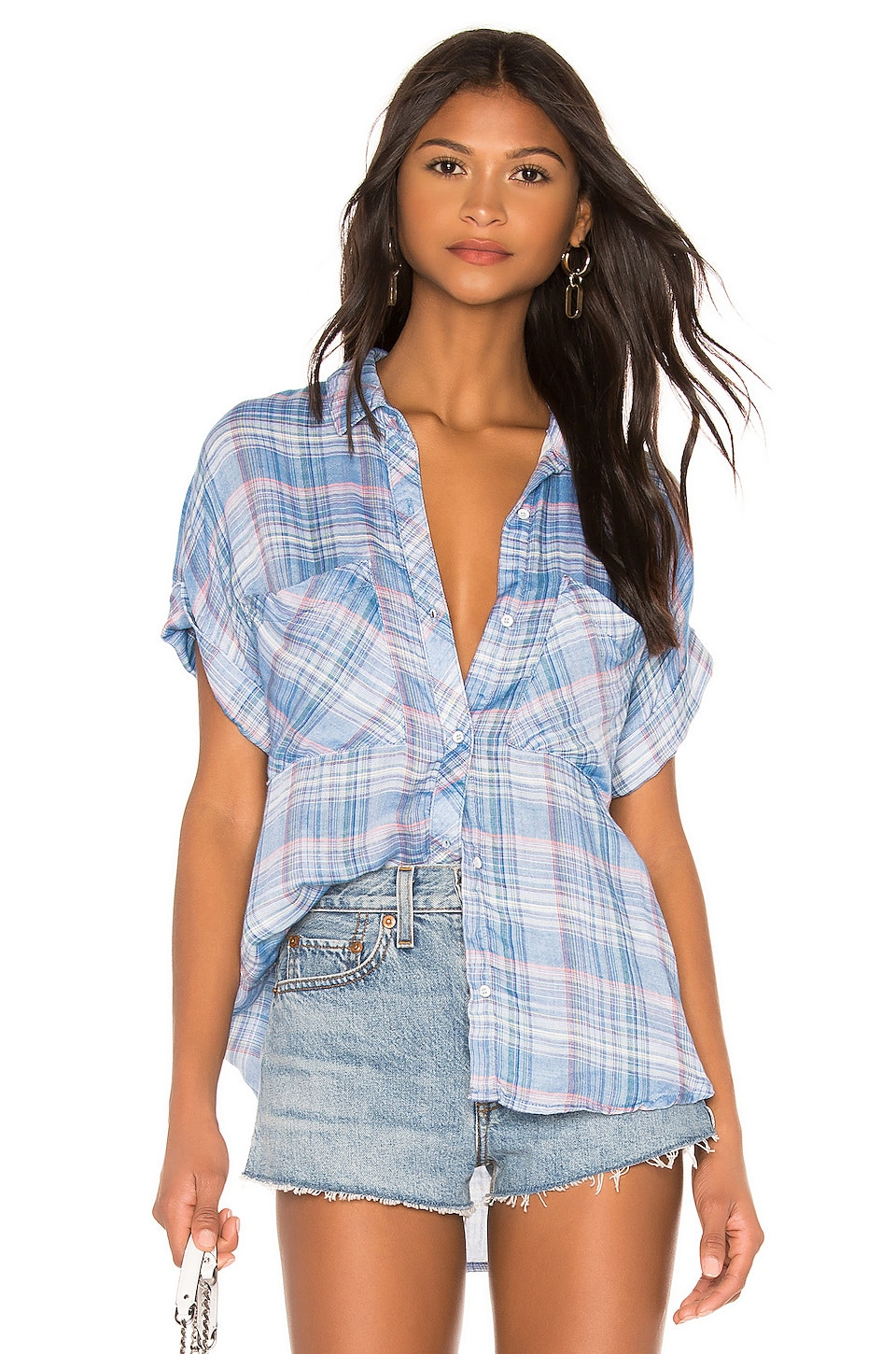 Bella Dahl Rolled Short Sleeve Button Down Top in Playa Plaid