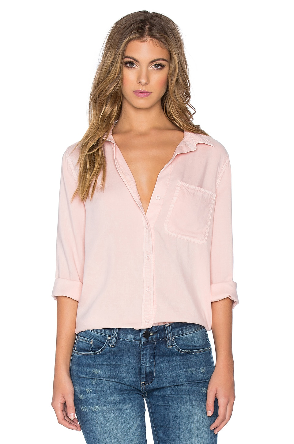 Bella Dahl Shirt Tail Button Up in Pink Sand