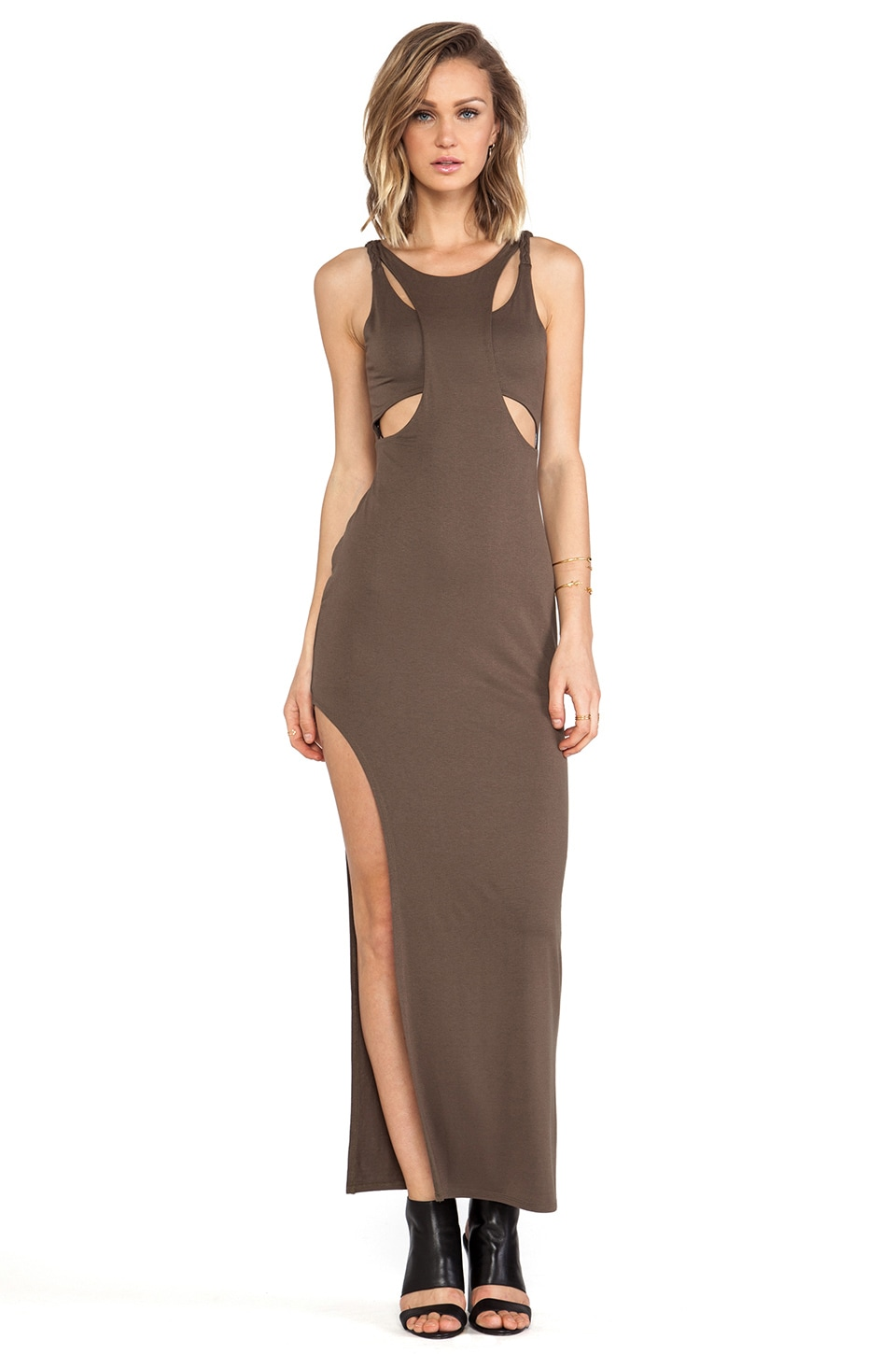 bless'ed are the meek Holey Smoke Dress in Khaki