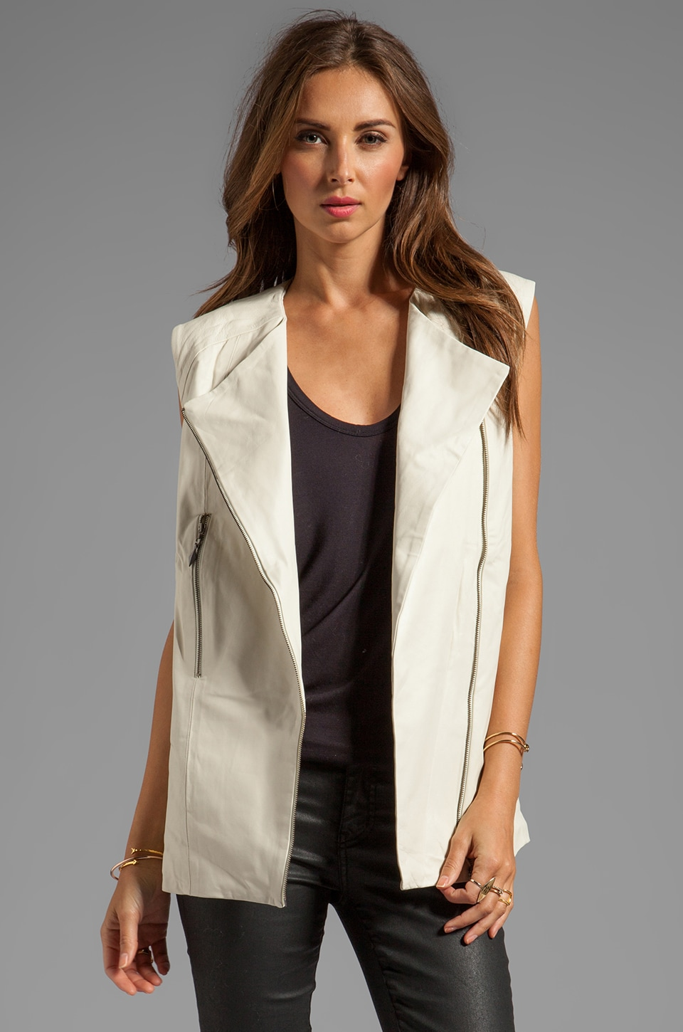 bless'ed are the meek Freedom Leather Vest in Ivory