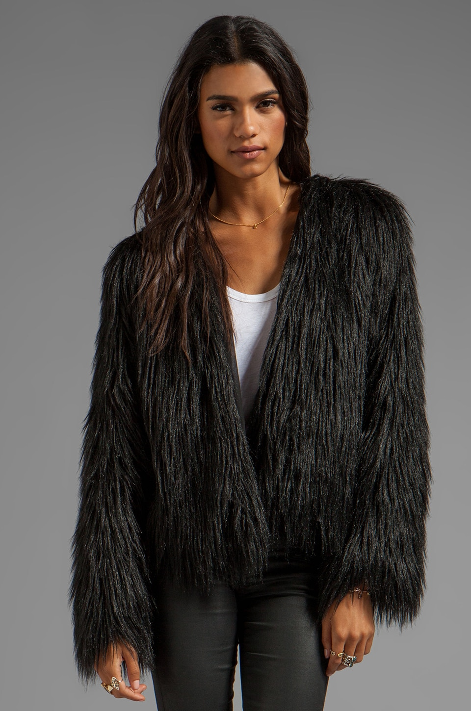 bless'ed are the meek Delusion Faux Fur Jacket in Black
