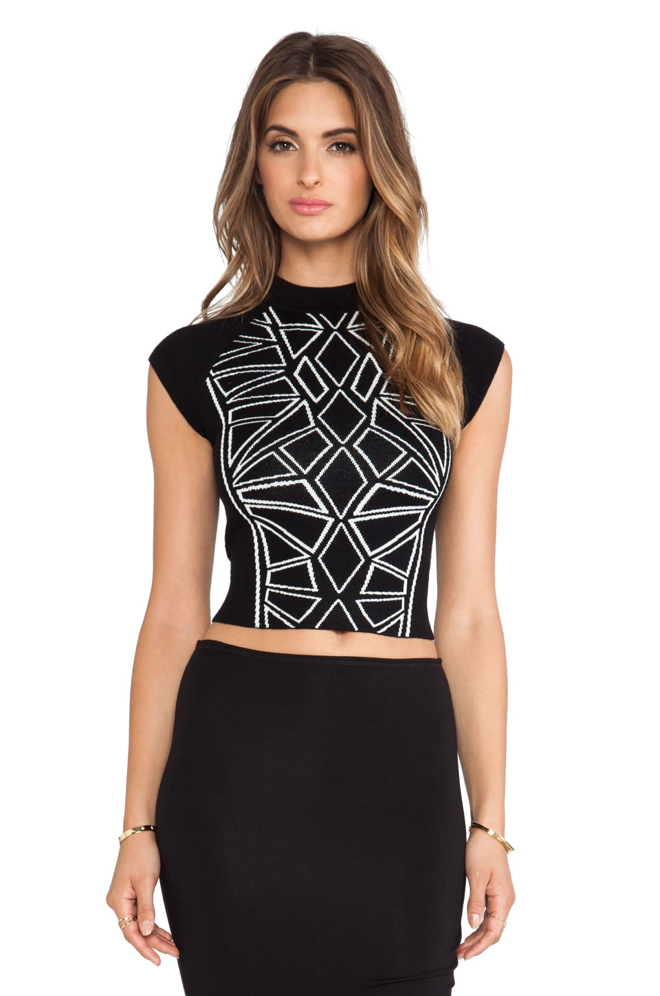 bless'ed are the meek Fractal Top in Black & Ivory