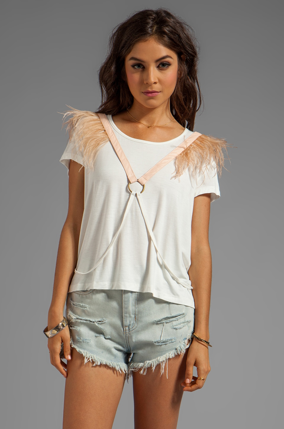 bless'ed are the meek Love Triangle Top in Ivory/Nude