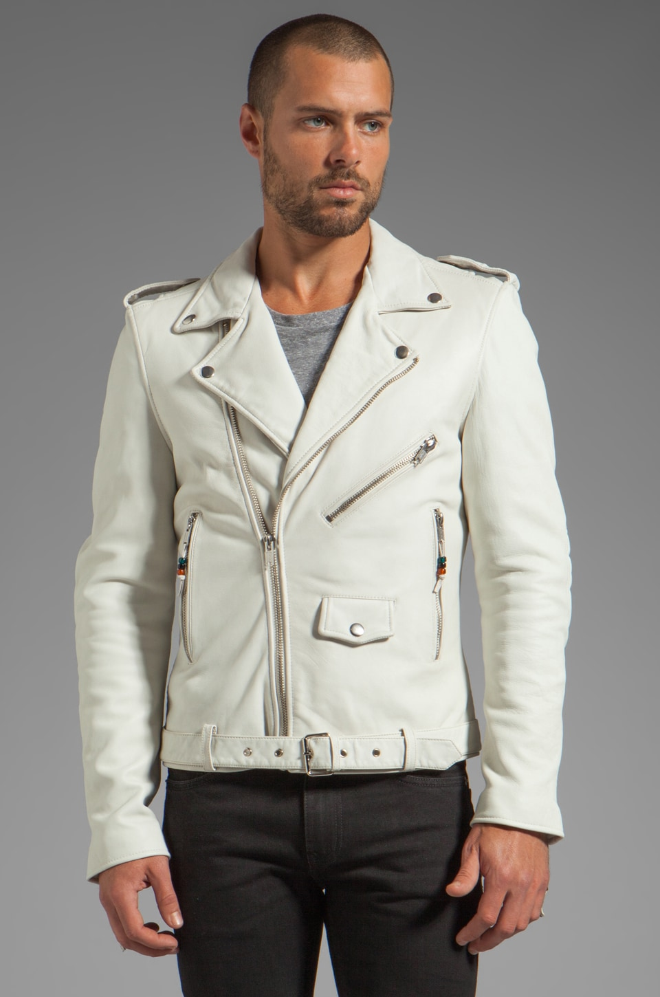 BLK DNM Leather Jacket 5 in Smoke White