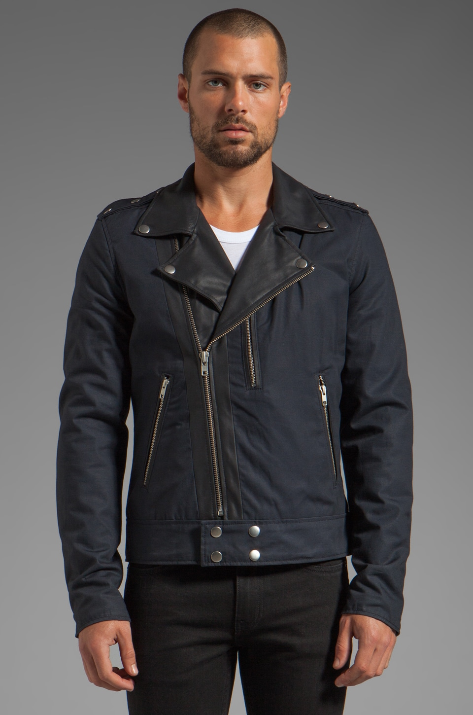 BLK DNM Jacket 50 in Navy Blue Black