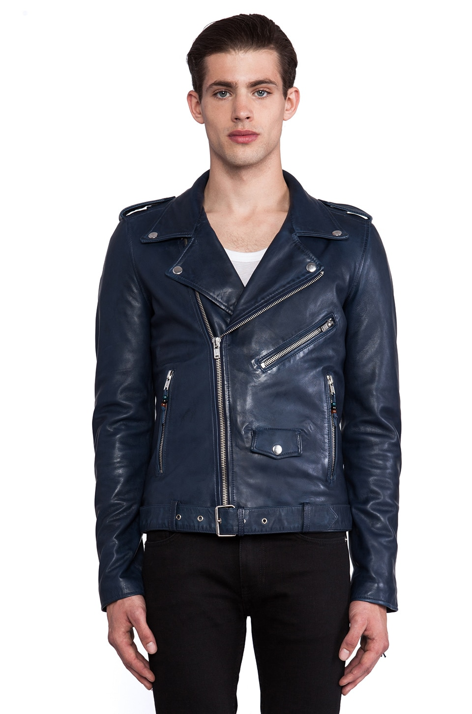 BLK DNM Leather Jacket 5 in Ink Blue