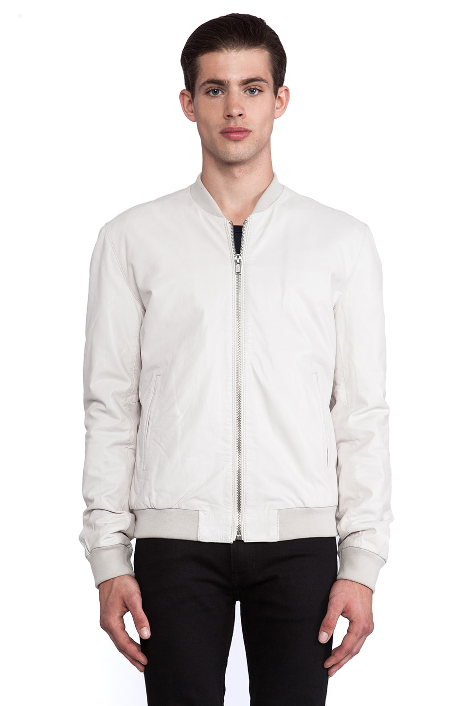 BLK DNM Leather Jacket 81 in Dust White