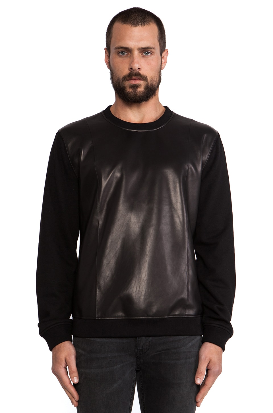 BLK DNM Leather Sweatshirt 20 in Black