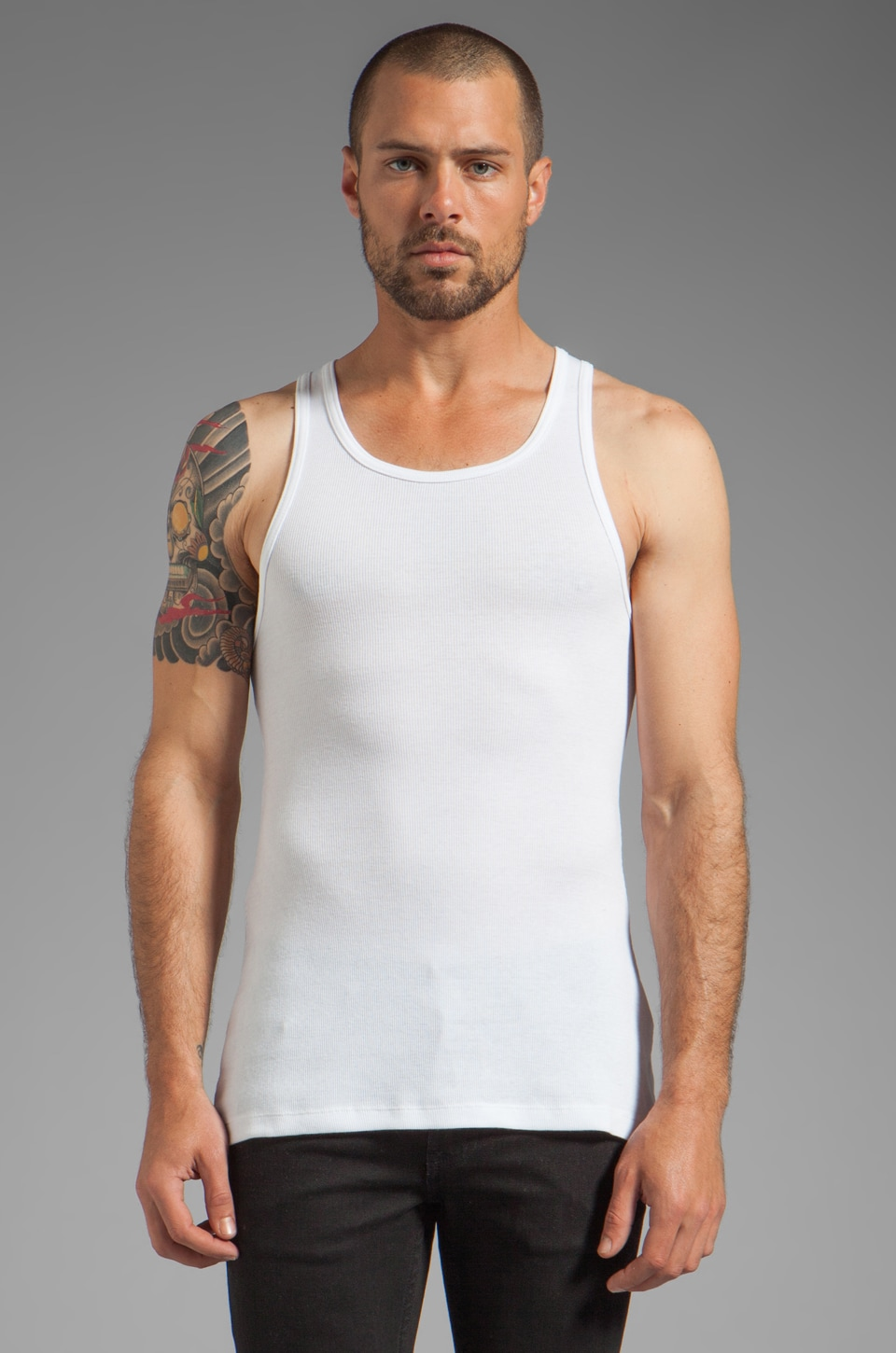 BLK DNM Tank 2 in White