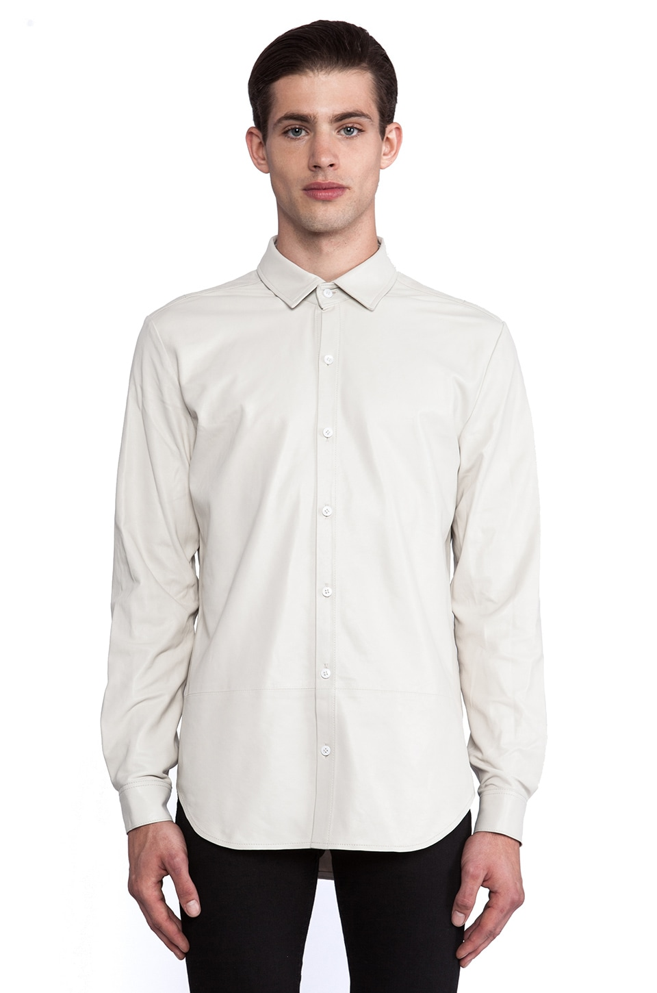 BLK DNM Leather Shirt 15 in Dust White