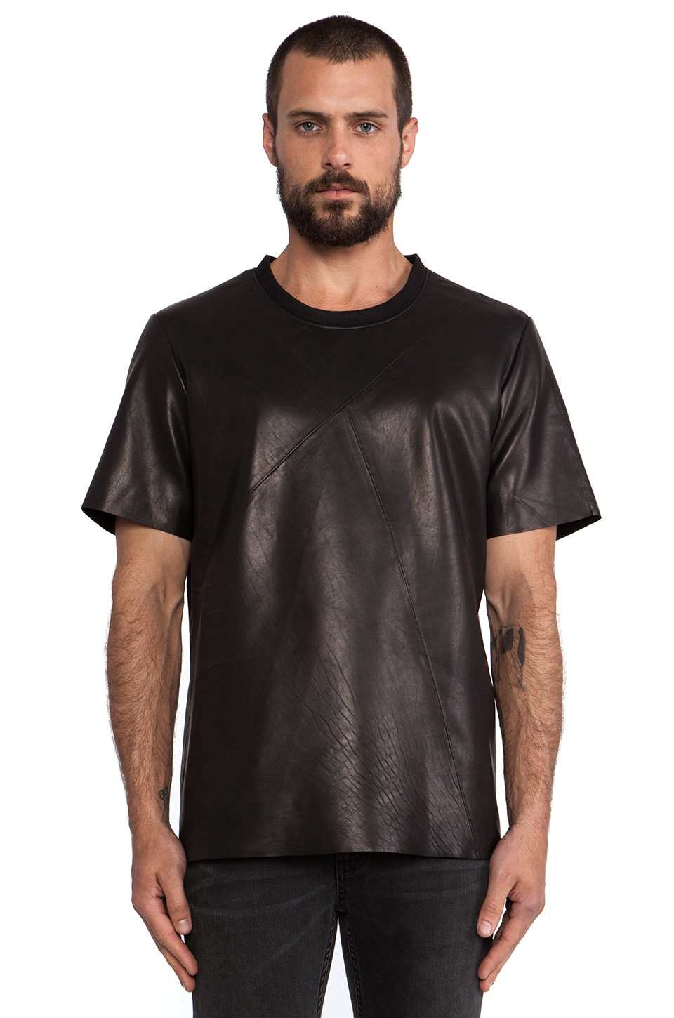 BLK DNM Leather T-Shirt 12 in Black