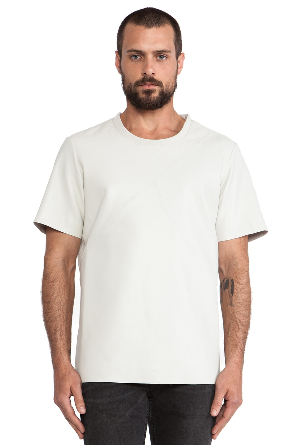 BLK DNM Leather T-Shirt 12 in Dust White