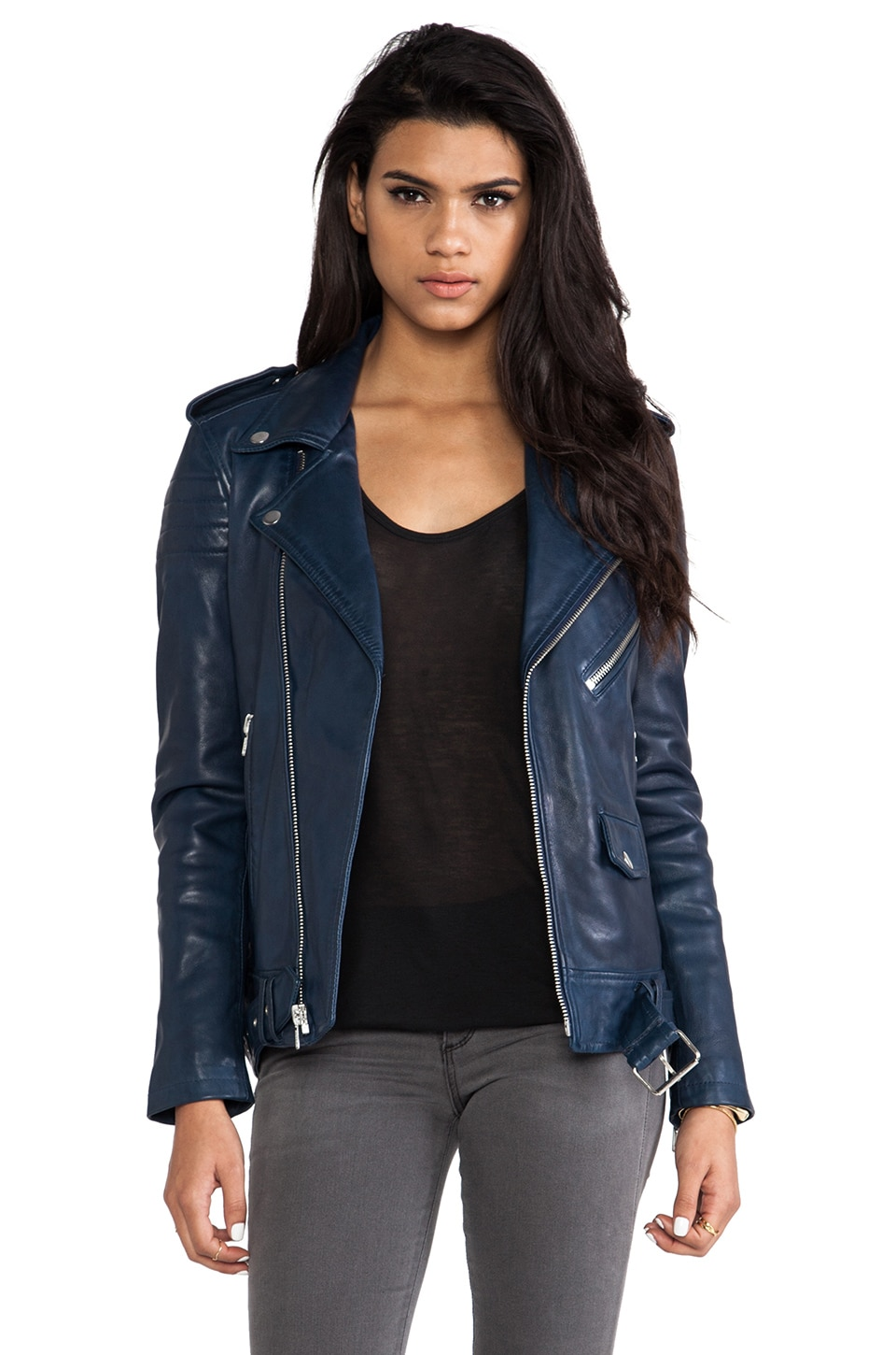 BLK DNM Leather Jacket 8 in Ink Blue